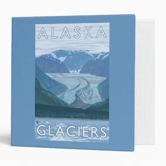 AlaskaLarge Glacier Scene Vintage Travel 3 Ring Binder