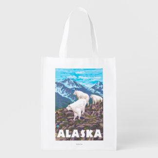AlaskaMountain Goats Vintage Travel Poster Reusable Grocery Bags