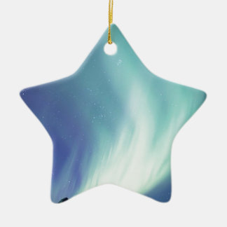 Alaskan aurora borealis lights in the night sky ceramic star ornament
