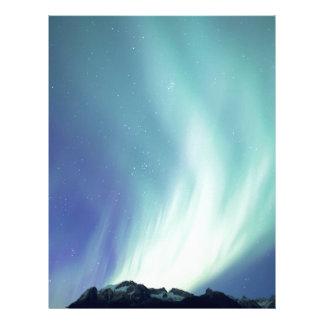 Alaskan aurora borealis lights in the night sky custom letterhead