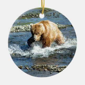 Alaskan Bear Round Ceramic Ornament