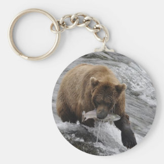 ALASKAN BROWN BEAR BASIC ROUND BUTTON KEYCHAIN