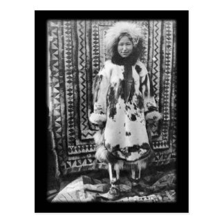 Alaskan Eskimo girl in traditional fur clothing Postcard