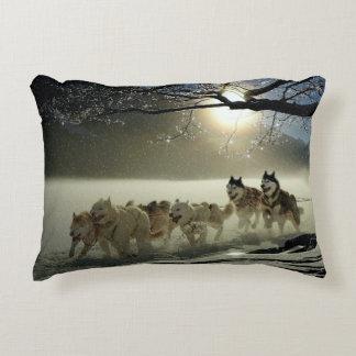 Alaskan Husky Dog Sled Race Accent Pillow