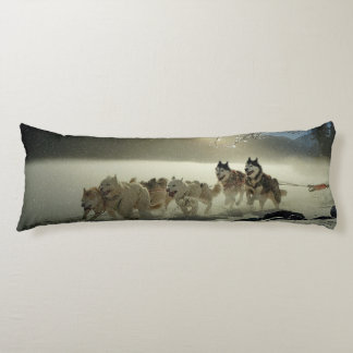Alaskan Husky Dog Sled Race Body Pillow