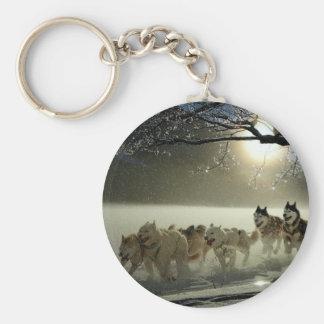 Alaskan Husky Dog Sled Race Keychain
