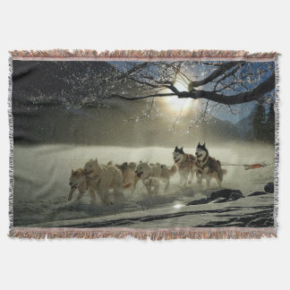 Alaskan Husky Dog Sled Race Throw Blanket
