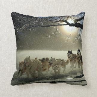 Alaskan Husky Dog Sled Race Throw Pillow