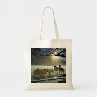 Alaskan Husky Dog Sled Race Tote Bag