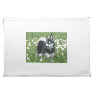 Alaskan Klee Kai Dog Plays In The Tulips Placemat