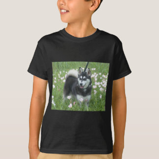 Alaskan Klee Kai Dog Plays In The Tulips T-Shirt