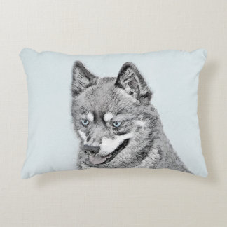 Alaskan Klee Kai Painting - Cute Original Dog Art Accent Pillow