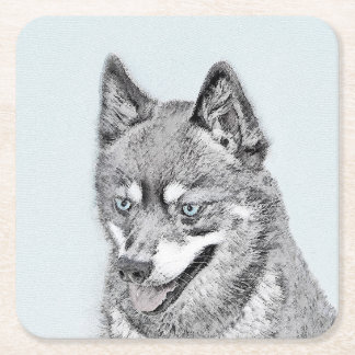 Alaskan Klee Kai Painting - Cute Original Dog Art Square Paper Coaster