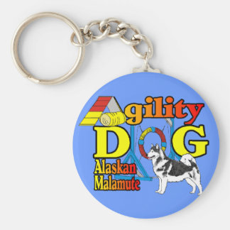 Alaskan Malamute Agility Gifts Basic Round Button Keychain