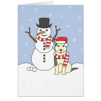 Alaskan Malamute and Snowman Card