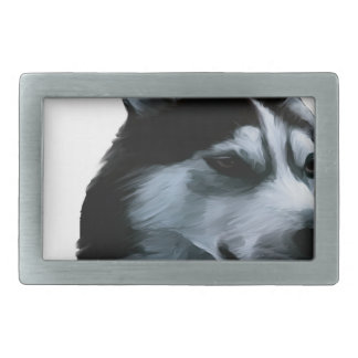 Alaskan Malamute Artwork Rectangular Belt Buckles