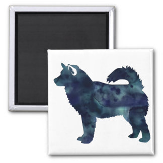 Alaskan Malamute Black Watercolor Silhouette Square Magnet