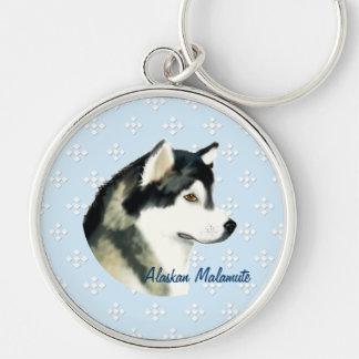 Alaskan Malamute ~ Blue w/ White Diamonds Silver-Colored Round Keychain