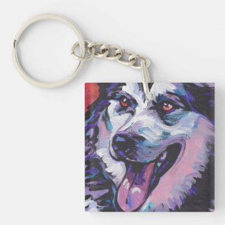 Alaskan Malamute Bright Colorful Pop Dog Art Double-Sided Square Acrylic Keychain