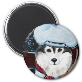 Alaskan Malamute Chef 2 Inch Round Magnet