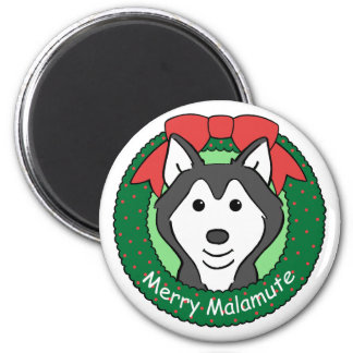 Alaskan Malamute Christmas 2 Inch Round Magnet