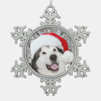 Alaskan Malamute Christmas Snowflake Pewter Christmas Ornament