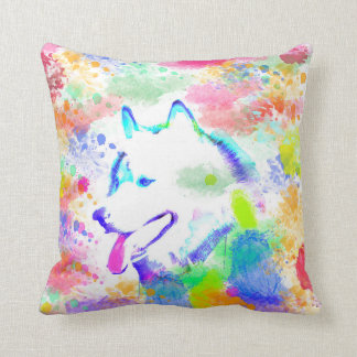 Alaskan Malamute Dog Watercolor Art Portrait Throw Pillow