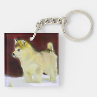 Alaskan malamute Double-Sided square acrylic keychain