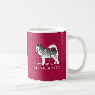 Alaskan Malamute Feliz Naughty Dog Christmas Coffee Mug