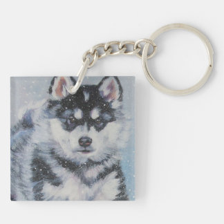 alaskan malamute fine art painting Double-Sided square acrylic keychain