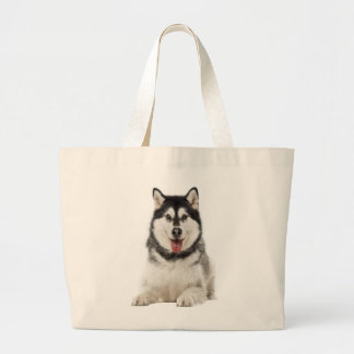 Alaskan Malamute Gray And Black Puppy Dog Large Tote Bag