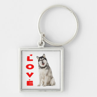 Alaskan Malamute Gray And Black Puppy Dog Red Love Silver-Colored Square Keychain