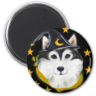 Alaskan Malamute Halloween 2 Inch Round Magnet