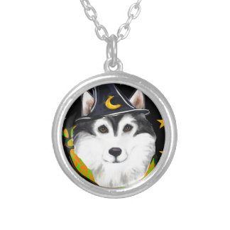 Alaskan Malamute Halloween Silver Plated Necklace