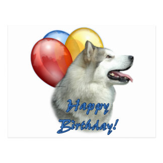 Alaskan Malamute Happy Birthday Balloons Postcard
