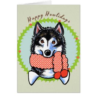 Alaskan Malamute Happy Howlidays Card