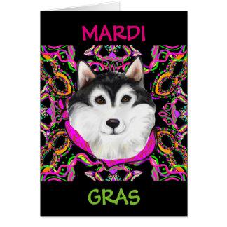 ALASKAN MALAMUTE - MARDI GRAS CARD