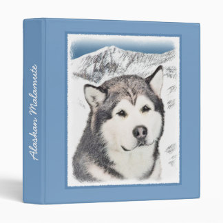 Alaskan Malamute Painting - Cute Original Dog Art Binder