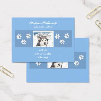 Alaskan Malamute Painting - Cute Original Dog Art Business Card