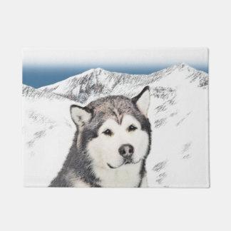 Alaskan Malamute Painting - Cute Original Dog Art Doormat