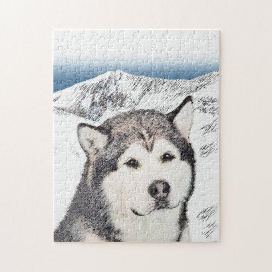 Alaskan Malamute Painting - Cute Original Dog Art Jigsaw Puzzle