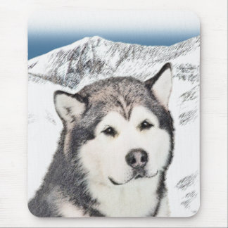 Alaskan Malamute Painting - Cute Original Dog Art Mouse Pad