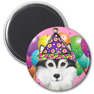 Alaskan Malamute Party Dog 2 Inch Round Magnet