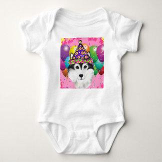 Alaskan Malamute Party Dog Baby Bodysuit