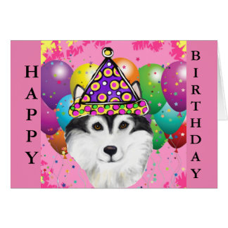 Alaskan Malamute Party Dog Card