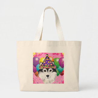 Alaskan Malamute Party Dog Large Tote Bag