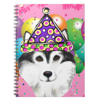 Alaskan Malamute Party Dog Spiral Notebooks