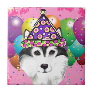 Alaskan Malamute Party Dog Tile