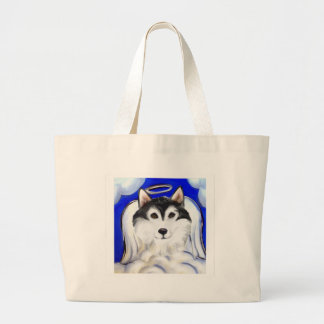 ALASKAN MALAMUTE PET ANGEL LARGE TOTE BAG