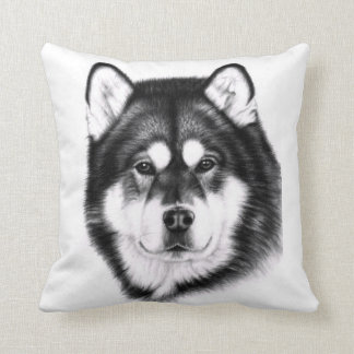 Alaskan Malamute portrait Throw Pillow